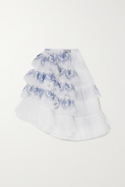 Simone Rocha - Asymmetric Ruffled Printed Organza And Tulle Midi Skirt - White