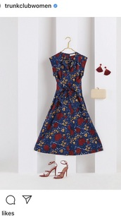 dress,navy,navy dress,trunk club,nordstrom,floral,midi dress