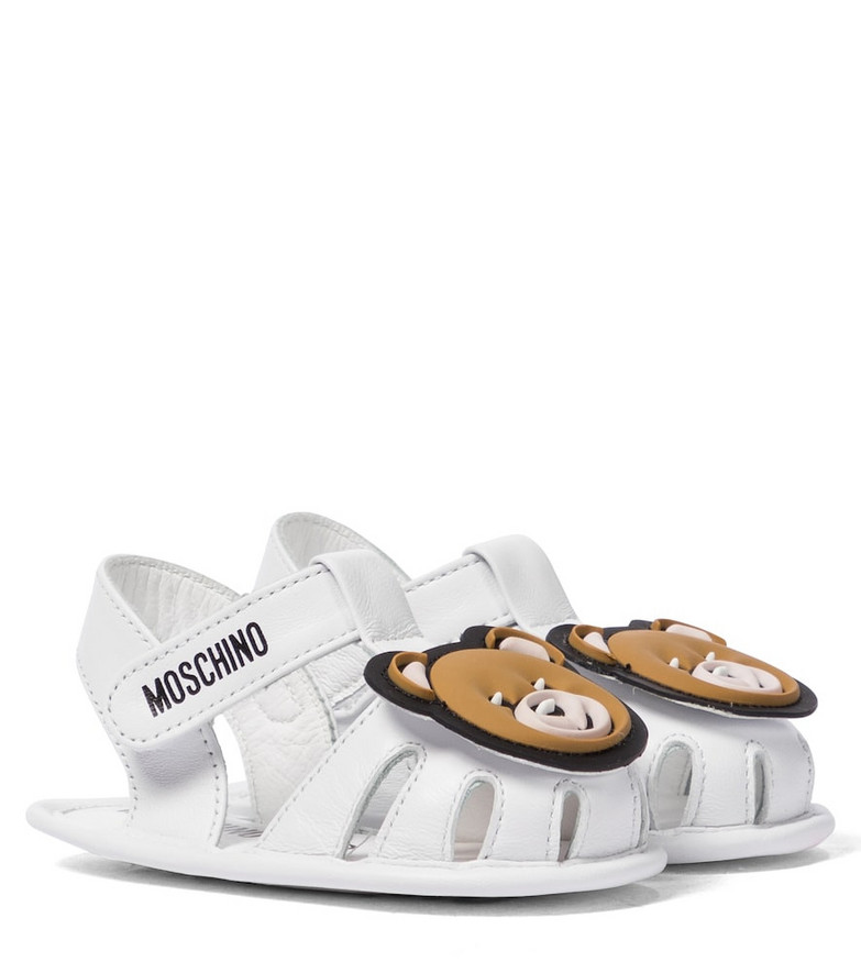 Moschino Kids Baby leather sandals in white
