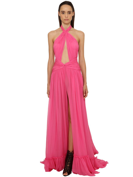 DUNDAS Georgette Long Dress W/ Cut Outs in pink