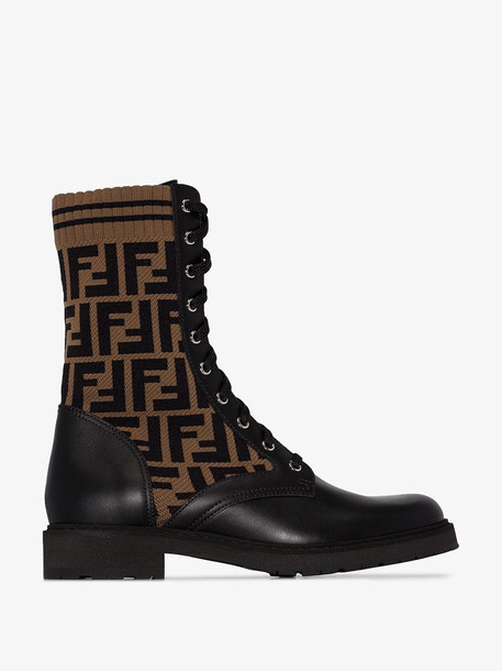 Fendi Brown and Black Leather Logo Boots