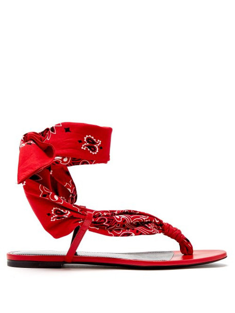 Saint Laurent - Dallas Bandana Print Wrap Sandals - Womens - Red White