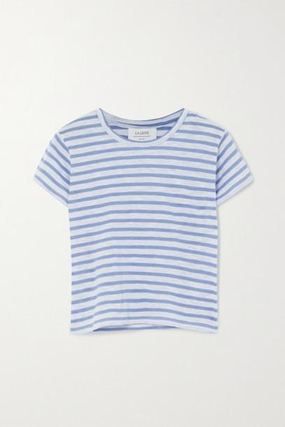 La Ligne - Rickie Cropped Striped Cotton-jersey T-shirt - Light blue