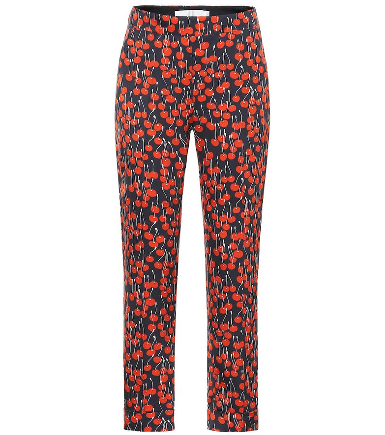 Victoria Victoria Beckham Cherry-print cigarette pants in red