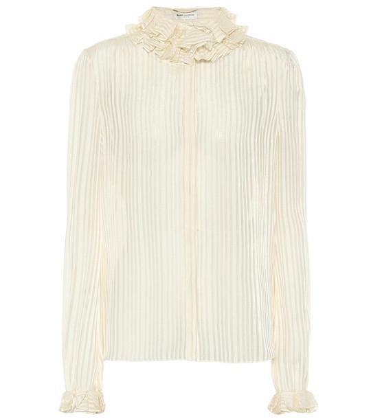 Saint Laurent Striped lamé silk-blend top in white