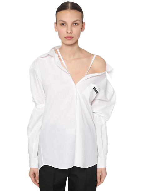 PRADA Off-the- Shoulder Cotton Poplin Shirt in white