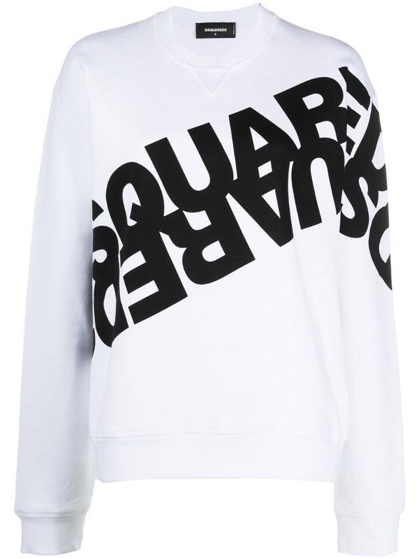 Dsquared2 mirrored logo sweatshirt in white