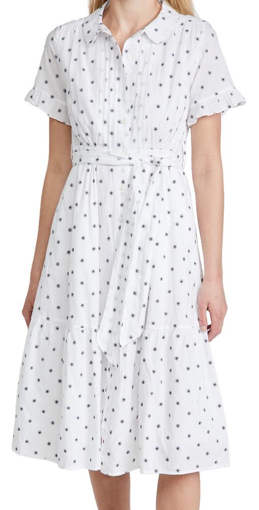 Alex Mill Daisy Field Indigo Dress in white