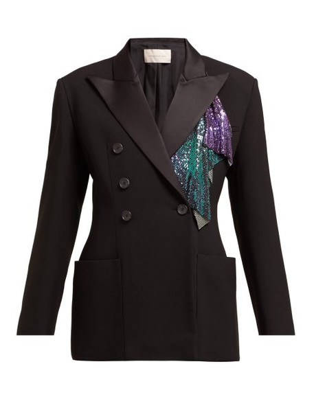 Christopher Kane - Chainmail Trim Double Breasted Tuxedo Jacket - Womens - Black Multi