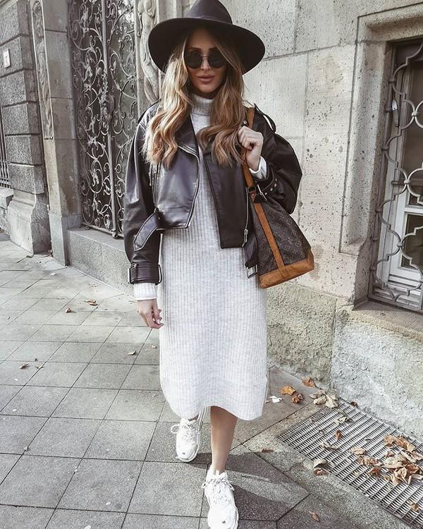 dress white dress turtleneck dress white sneakers black leather jacket shoulder bag hat