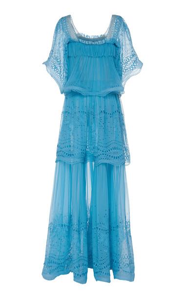 Alberta Ferretti Layered Cotton Blend Maxi Dress in blue