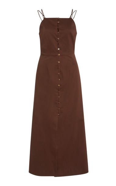 Cult Gaia Giana Strappy Cotton Midi Dress in brown