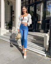 top,crop tops,white top,espadrilles,high waisted jeans,woven bag