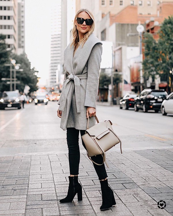 coat grey coat ankle boots black boots black jeans bag