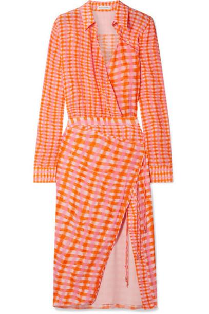 Altuzarra - Constantina Wrap-effect Checked Silk Crepe De Chine Midi Dress - Orange