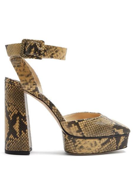 Jimmy Choo - Jinn 125 Python-effect Leather Platform Sandals - Womens - Beige Multi