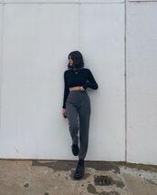 pants,high waisted pants,black boots,black top,crop tops