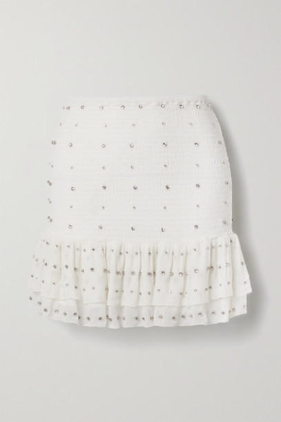 Retrofête - Lucille Crystal-embellished Shirred Silk-crepon Mini Skirt - White