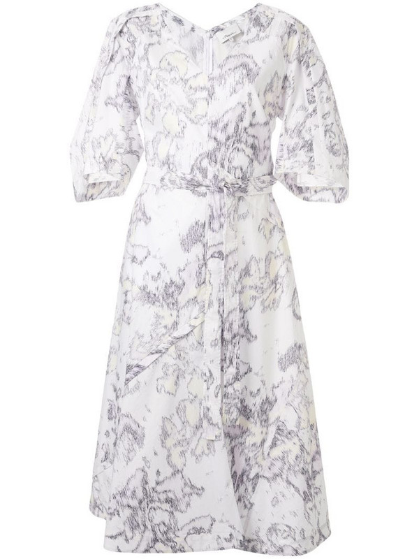 3.1 Phillip Lim Abstract Daisy balloon-sleeve dress in white