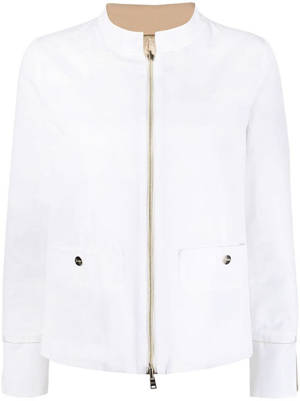 Herno mock neck fitted jacket in white