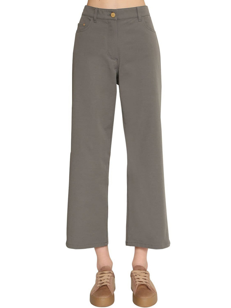 MAX MARA 'S Straight Leg Cotton Canvas Pants in grey