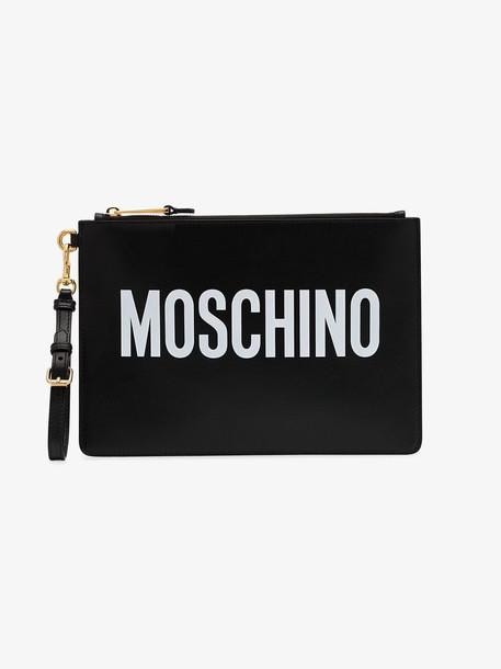 Moschino Black leather white logo pouch