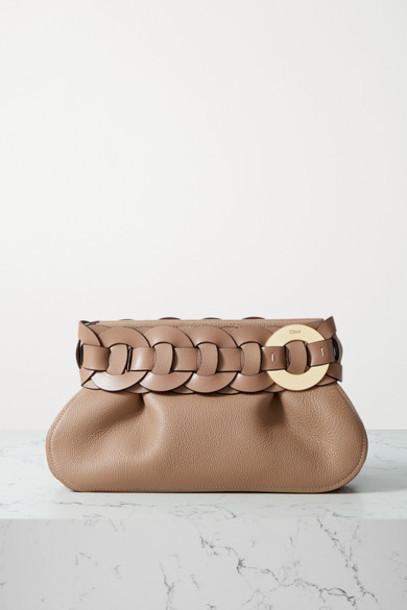 Chloé Chloé - Darryl Braided Textured-leather Clutch - Sand
