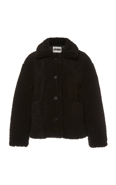 Apparis Charlotte Collared Faux Shearling Jacket Size: M in black