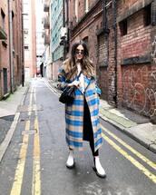 coat,long coat,plaid,white boots,ankle boots,black leggings,black bag,crossbody bag,topshop,white t-shirt