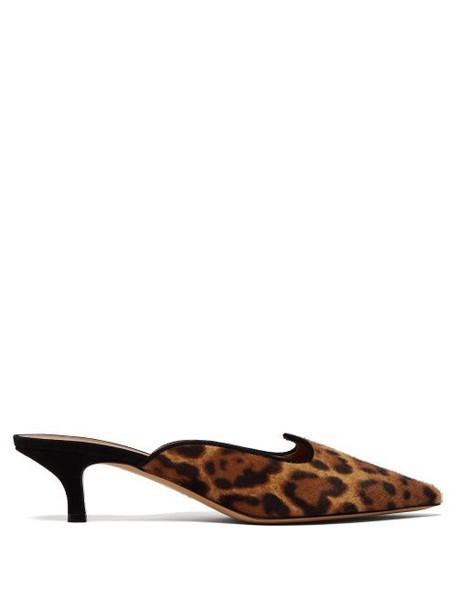 Le Monde Beryl - Leopard Print Kitten Heel Mules - Womens - Leopard