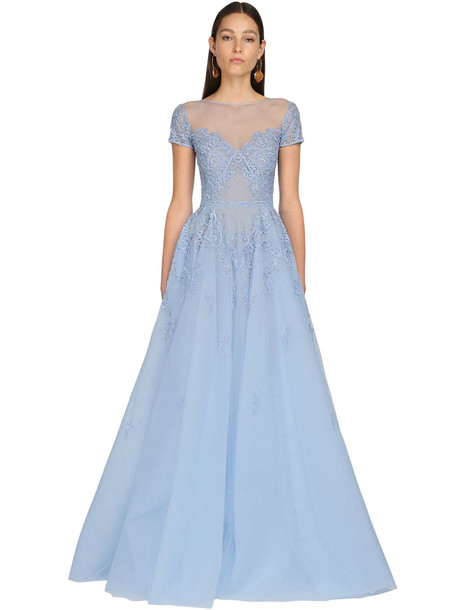 ZUHAIR MURAD Embroidered Tulle & Lace Long Dress in blue