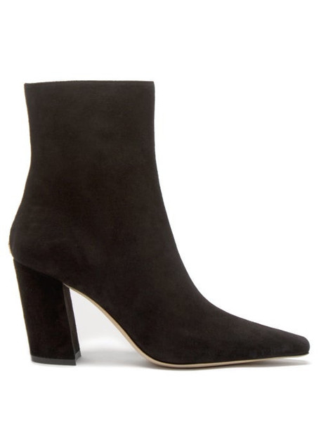 Jimmy Choo - Zadie 85 Point-toe Suede Ankle Boots - Womens - Black