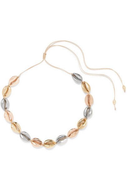 Tohum - Large Puka Yellow And Rose Gold And Silver-plated Necklace