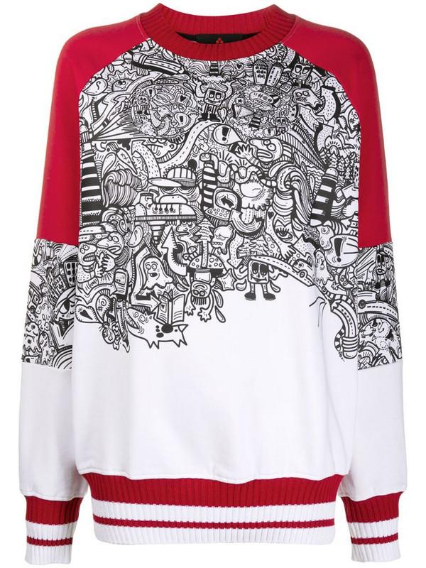 Peuterey graphic print cotton sweatshirt in white