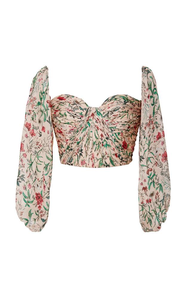 AMUR Helena Floral-Patterned Silk Crop Top in print
