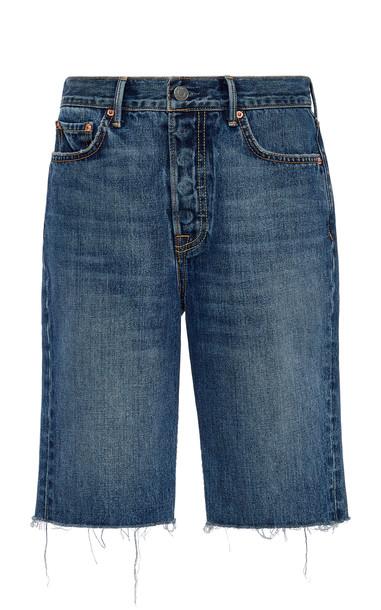 GRLFRND Denim Beverly High-Rise Frayed Denim Shorts Size: 25