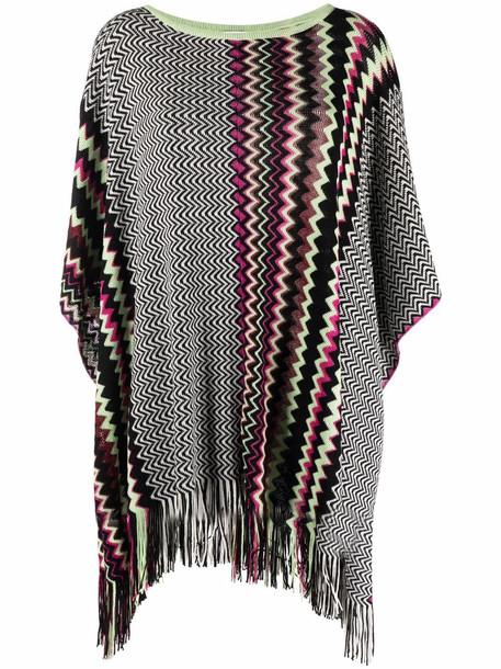 M Missoni fringed zigzag poncho - Black