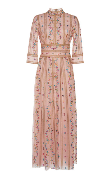 Costarellos Floral-Embroidered Tulle Midi Dress Size: 34 in pink
