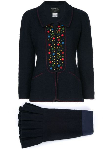 Chanel Pre-Owned dots detail skirt suit in blue