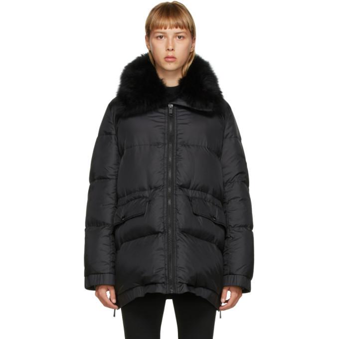 Yves Salomon - Army Black Down Lamb Fur Jacket in noir