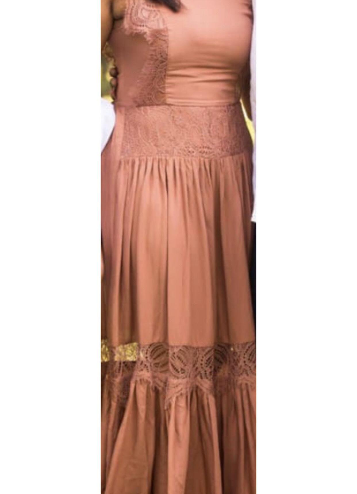 dress brown dress cotton