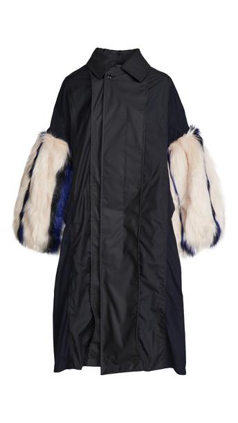 Toga Pulla Polyester Taffeta Faux Fur Coat in black