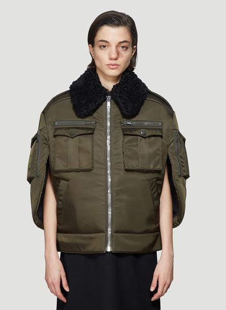 Prada Shearling Collar Cape Jacket in Green size IT - 40