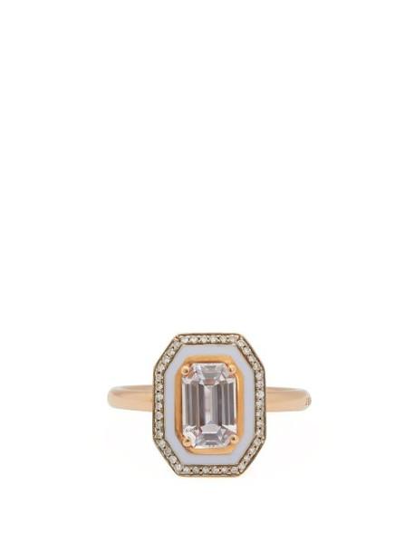 Selim Mouzannar - 18kt Rose Gold, Sapphire, Diamond & Enamel Ring - Womens - Blue