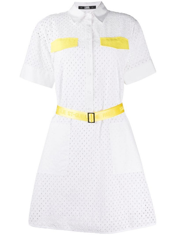 Karl Lagerfeld broderie anglaise shirt dress in white