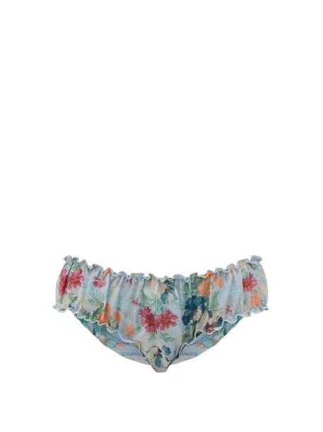 Loup Charmant - Bloomer Floral-print Organic-cotton Briefs - Womens - Blue Print