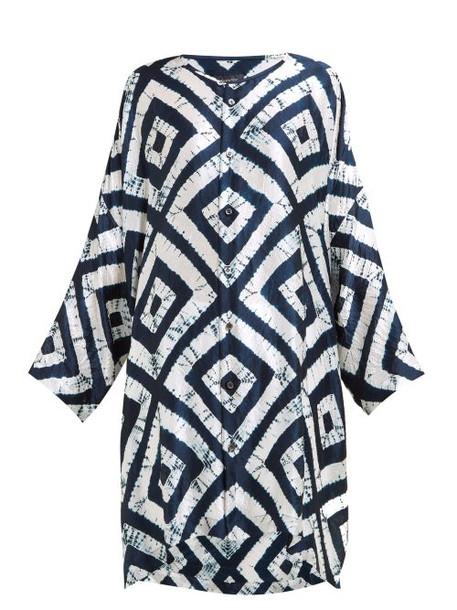 Eskandar - Expanding Squares Shibori Dyed Silk Tunic Shirt - Womens - Navy White