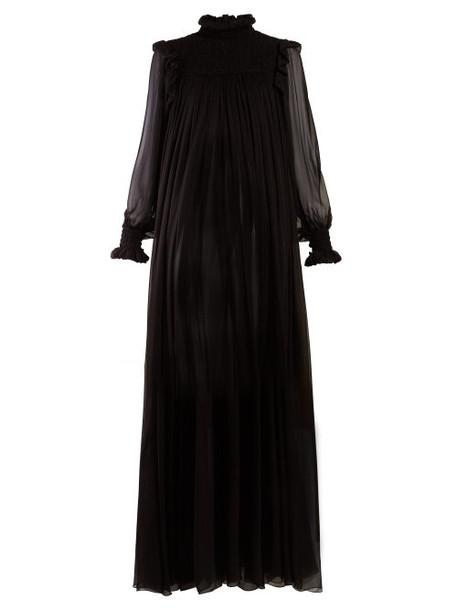 Saint Laurent - High Neck Mousseline Gown - Womens - Black
