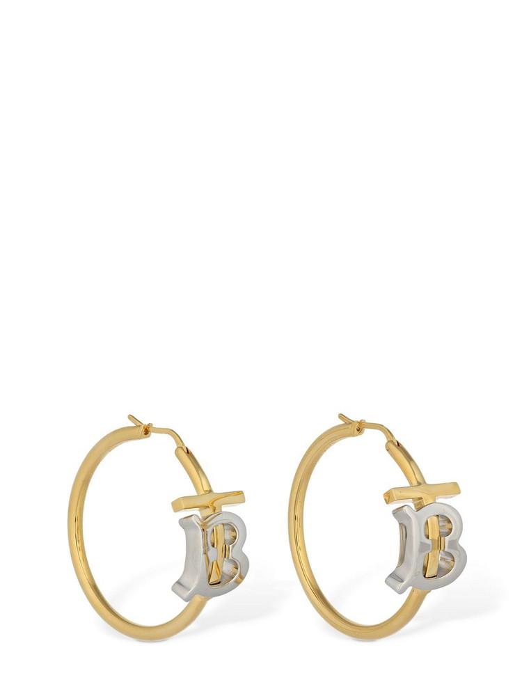 BURBERRY Tb Bicolor Logo Hoop Earrings in gold