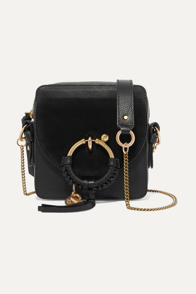SEE BY CHLOÉ SEE BY CHLOÉ - Square Textured-leather And Suede Shoulder Bag - Black